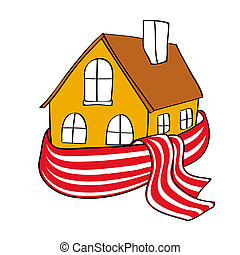 House wrapped in a scarf - House wrapped in a stripped scarf