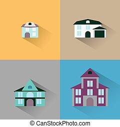 house., zabudowanie, wektor, komplet, ikona