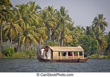 Houseboat in backwater of Kerala , India