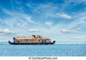 Houseboat in Kerala, India - Tourist houseboat in Vembanadu ...