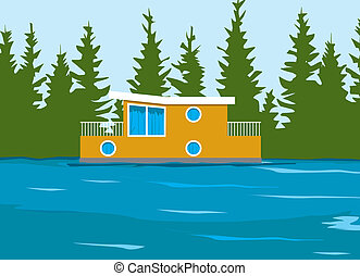 Houseboat on the side of a river