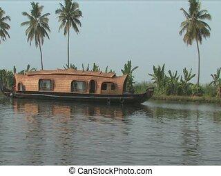 Houseboat trip through backwaters mase of waterways in...