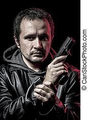housebreaker, tjuv, beväpnat, man, med, svart leather klå upp, farlig