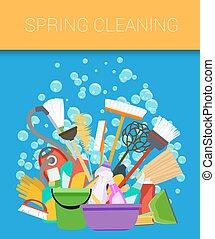 housecleaning., ensemble, vecteur, supplies., nettoyage, outils