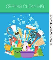 housecleaning., printemps, arrière-plan., vecteur, nettoyage, outils
