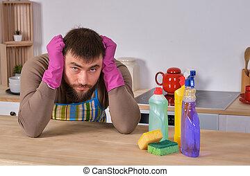 housecleaning, quel, sien, aide, épouse, jeune, mais, détergents, savoir, tout, homme, voulu, ne fait pas, il