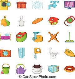 housecraft, ensemble, style, dessin animé, icônes