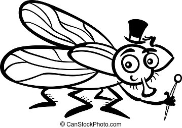 Black and White Cartoon Illustration of Funny Fly or Housefly with Hat and Cane for Coloring Book