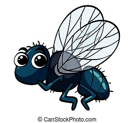 Housefly flying on white background
