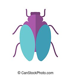 housefly icon over white background, flat style, vector illustration