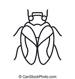 housefly icon over white background, line detail style, vector illustration