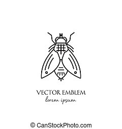 Vector housefly linear icon isolated on white background