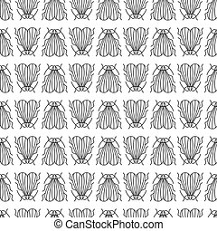 Vector housefly seamless pattern in linear style on white background
