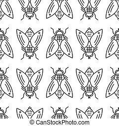 Vector housefly seamless pattern in linear style