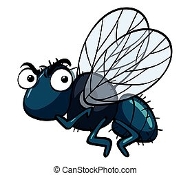 Housefly with angry face illustration