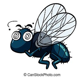 Housefly with dizzy face illustration
