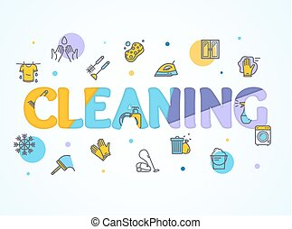 Household and Cleaning Service Concept Paper Art. Vector