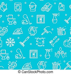 Household and Cleaning Tools Pattern Background on a Blue. Vector