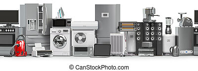 Household and kitchen appliances and home technics in a row...