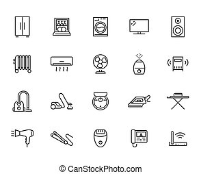 Household appliance line icon set. Washing machine, ...