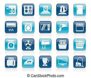 household appliances and electronics icons - vector, icon...