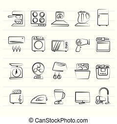household appliances and electronics icons