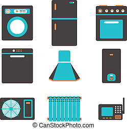 household appliances icons, set of kitchen equipment on a...