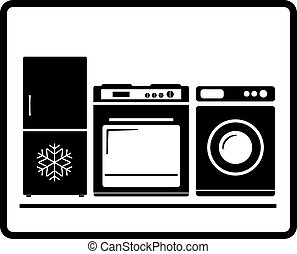 household appliances - black household appliances icon - gas...