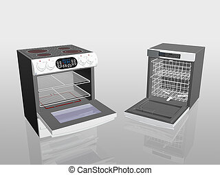 Household appliances, cooker, stove, dish washer. - 3D...