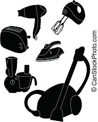 Household appliances silhouettes - vector