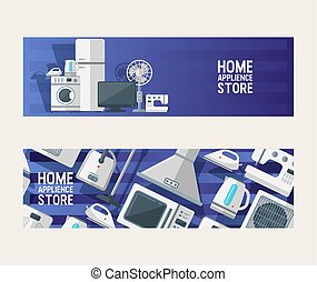 Electronic Household Appliances Set Of Banners Vector Illustration Kitchen And Home Equipment For House Washing Machine