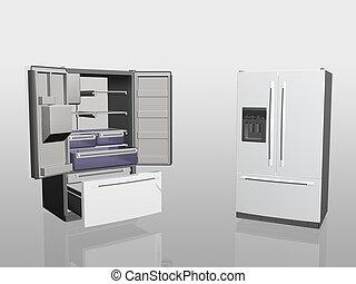 Household appliances, fridge, - 3D illustration, household ...