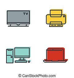 Household appliances gray icons