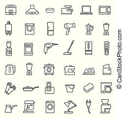 Household appliances icon set. Black sign on white background