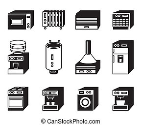 Household appliances icon set - vector illustration