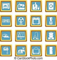 Household appliances icons azure