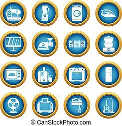 Household appliances icons blue circle set