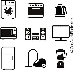 Household Appliances Icons with stereo washing machine...