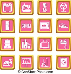 Household appliances icons pink