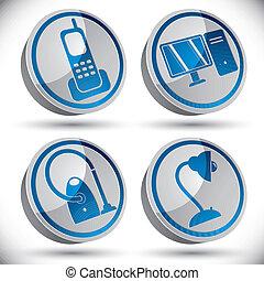 Household appliances icons set 1.