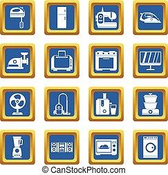 Household appliances icons set blue