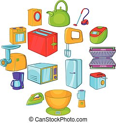 Household appliances icons set, cartoon style