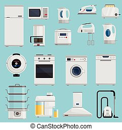 Household Appliances Icons Set - Household appliances icons...