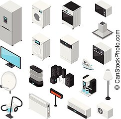 Household Appliances Isometric Icons Set - Household...