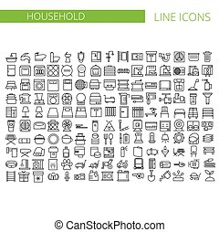 Household appliances line icons set. Vector illustration