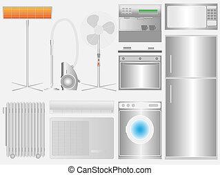 Household appliances on light background - Grupp of ...