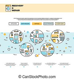 Household appliances repair service website page vector template