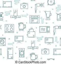 Household appliances seamless pattern.
