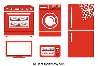 Household appliances vector icons