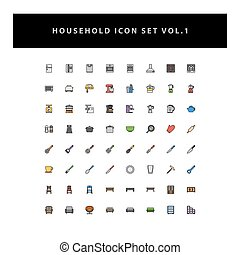 household appliances vector icons set vol 1 with filled outline style design